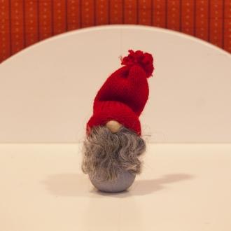 赤い帽子のひげのトムテ(グレー)