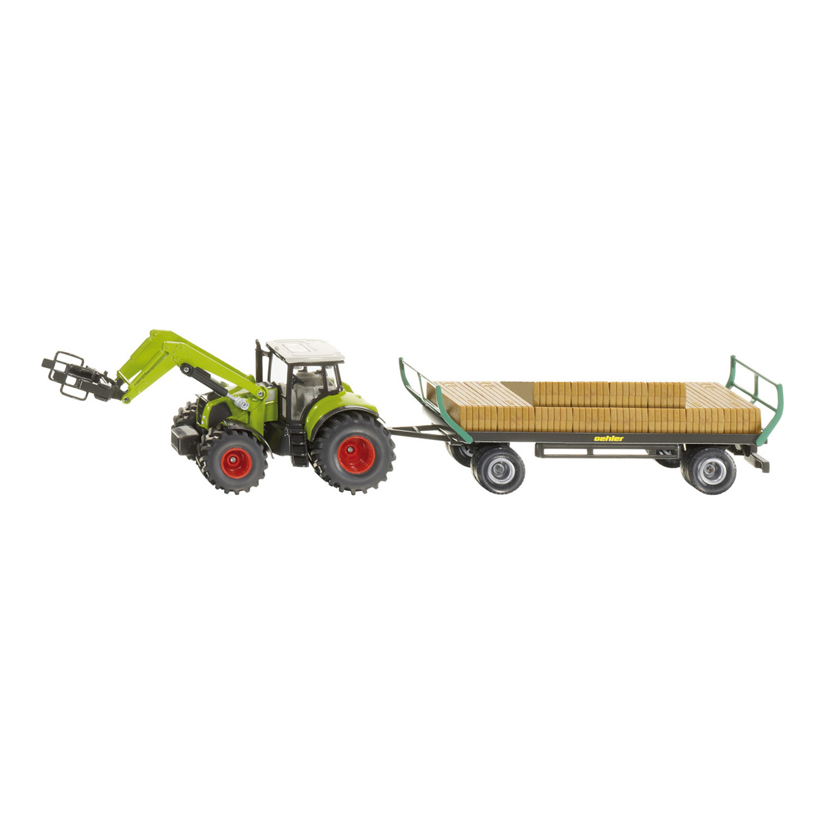 Tractor with square bale gripper and trailer 1/50(ジク・SIKU)