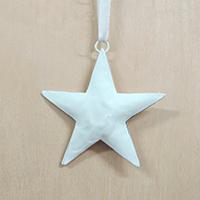 メタルオーナメント  白の星 7.5cm
