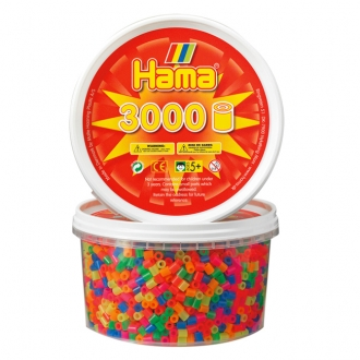 【在庫限り】ハマビーズ 丸ボックス 蛍光色(3000ピース)
