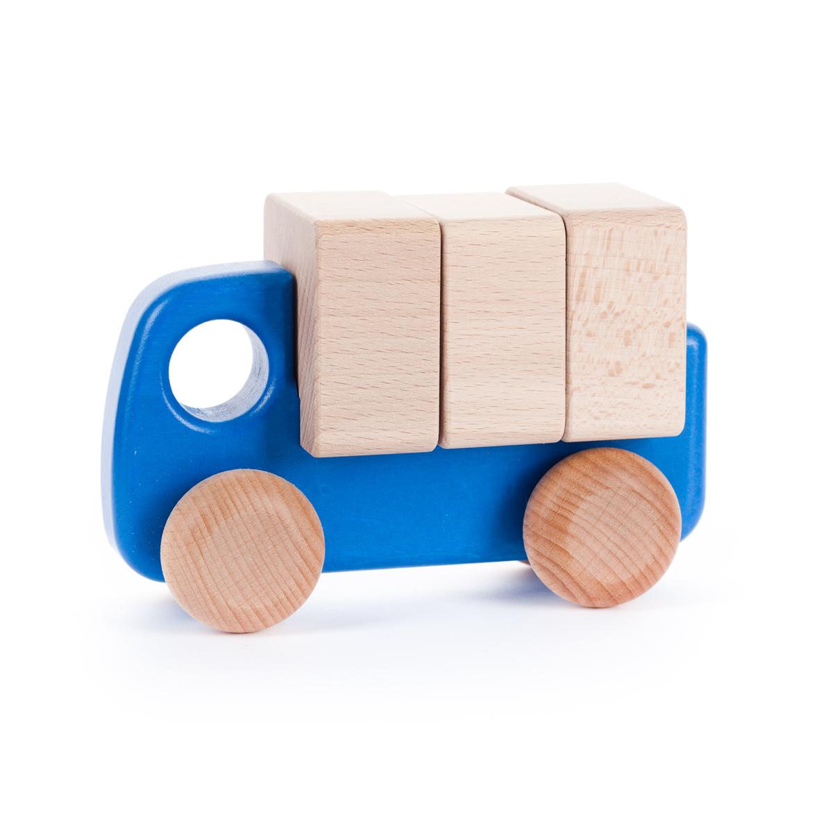 ブロックが積める 木のトラック(青)