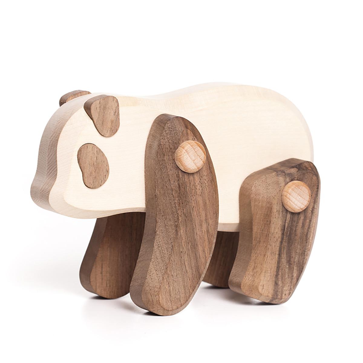 動く木製アニマル・オブジェ パンダ