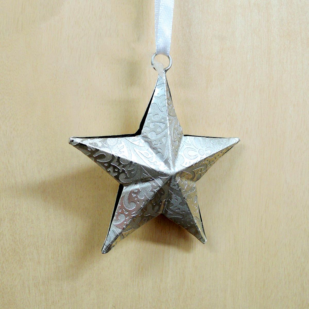 メタルオーナメント 銀の星 7cm