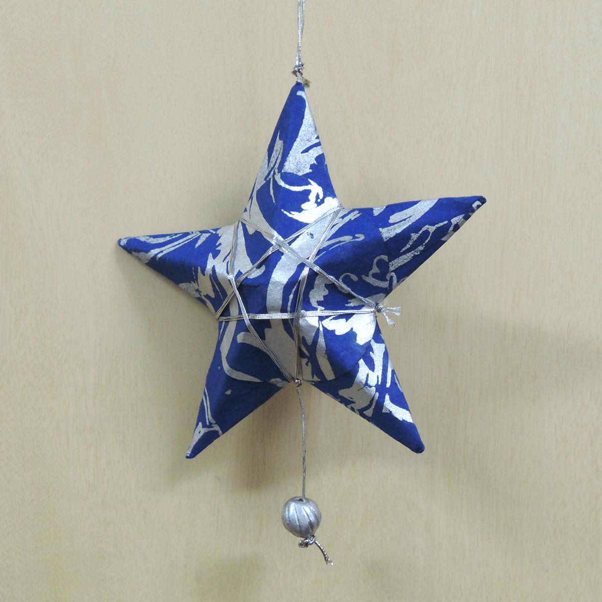 【在庫限り】ペーパーオーナメント 青の星 9cm