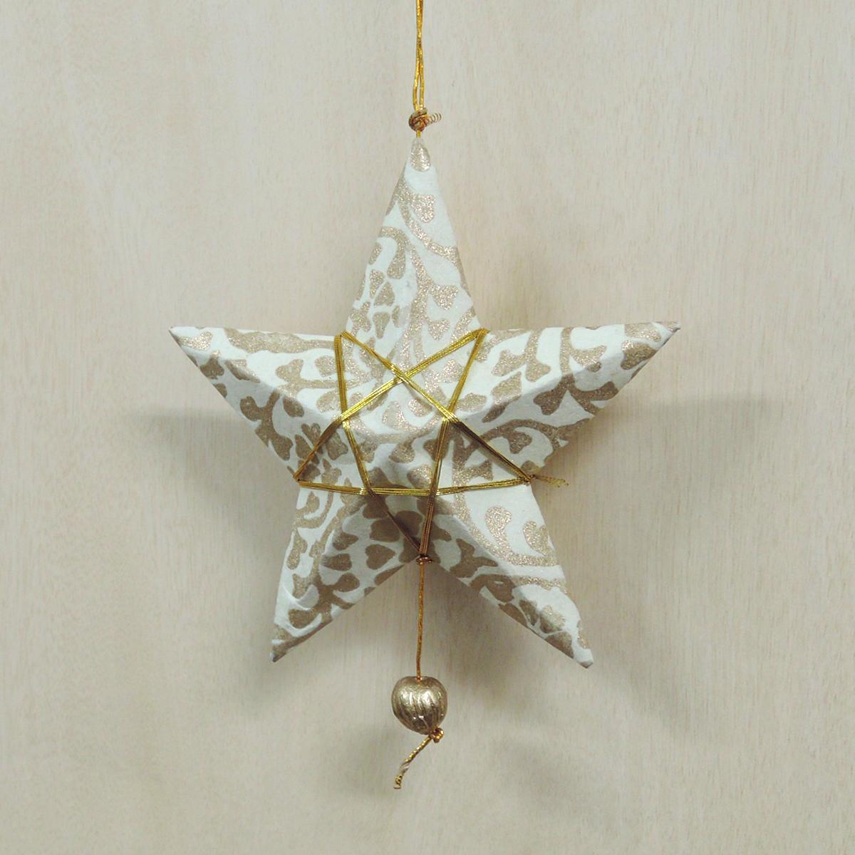 【在庫限り】ペーパーオーナメント 白の星 9cm