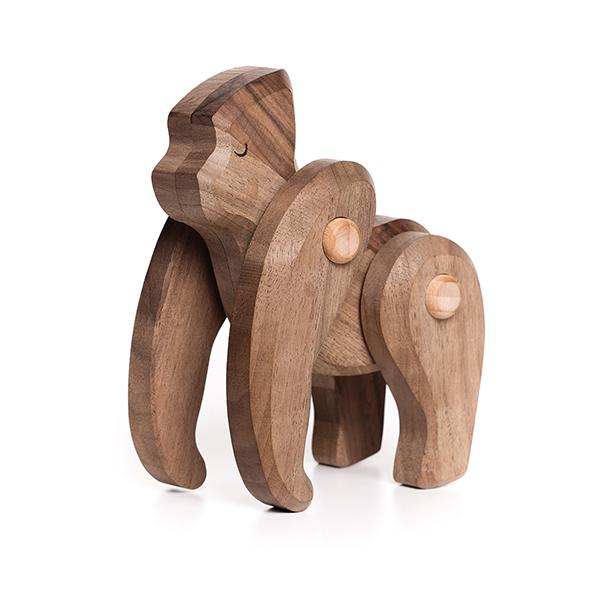 動く木製アニマル・オブジェ ゴリラ