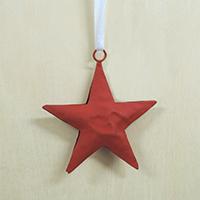 【在庫限り】メタルオーナメント 赤の星 7.5cm