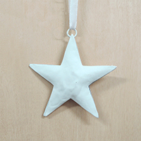 【在庫限り】メタルオーナメント  白の星 7.5cm