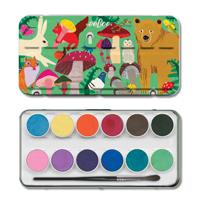 12色水彩パレット ある森の動物たち