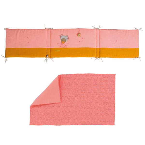 【58%OFF】ベビーベッド用品2点セット(ピンク)